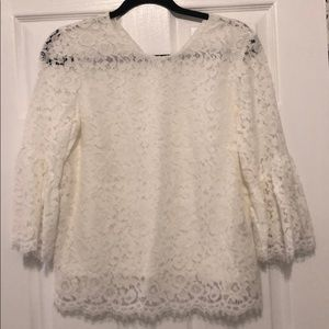 H&M White lace bell sleeve blouse